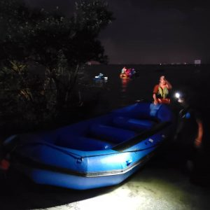 Launching raft at night for bio bay tour in Florida
