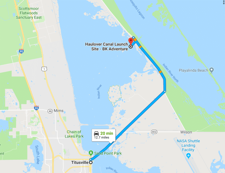 Map to BK Adventure at Haulover Canal