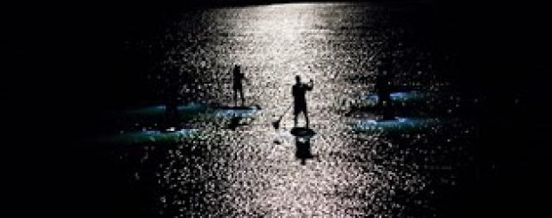 Nighttime paddle board moonlight