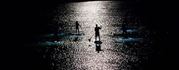 Nighttime paddle board moonlight